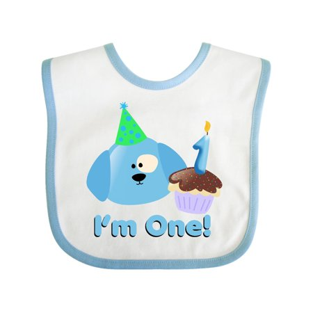 1st Birthday Puppy Blue Baby Bib White One Size