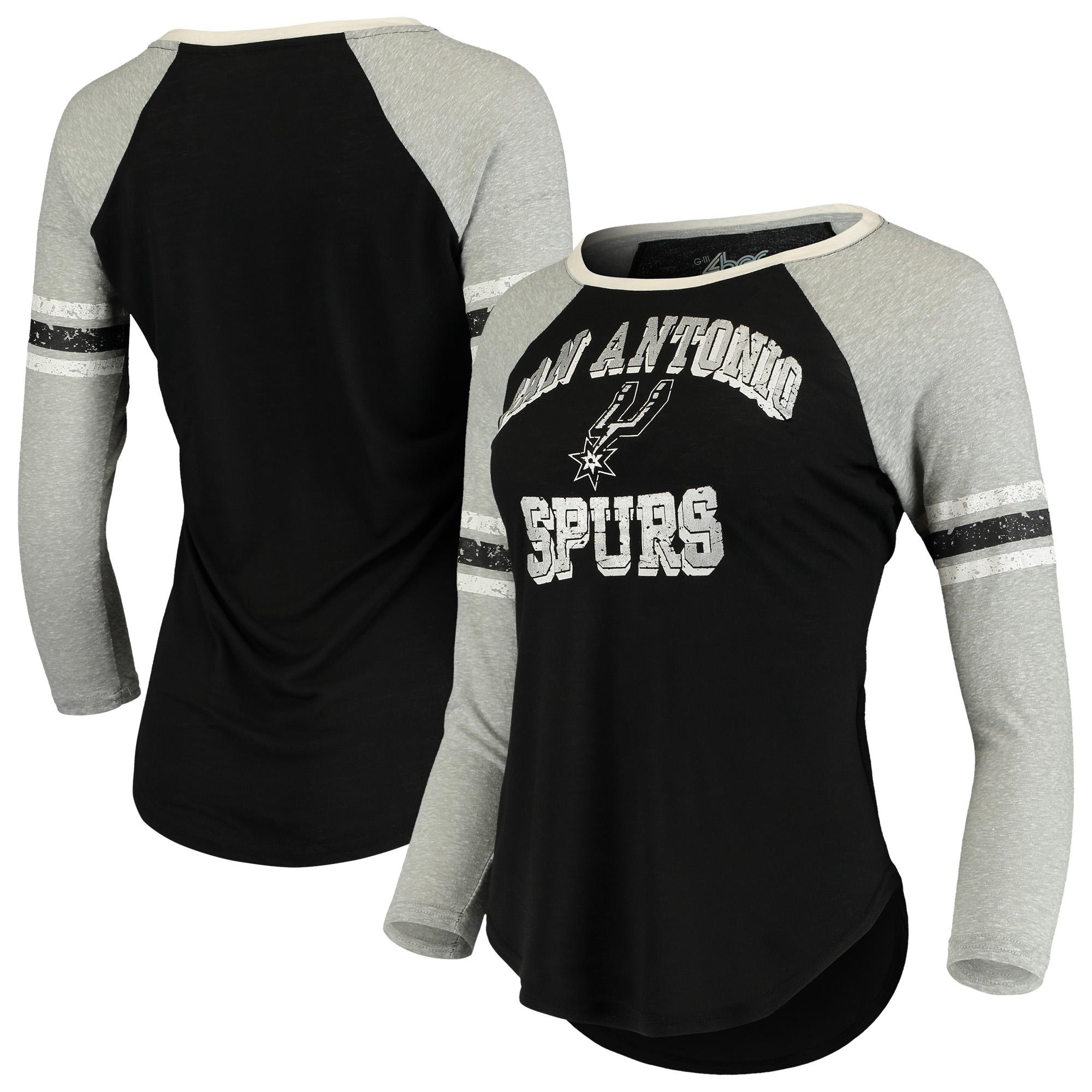 San Antonio Spurs G-III 4Her by Carl Banks Women's The Court Tri-Blend Raglan 3/4-Sleeve T-Shirt - Black/Heathered Gray
