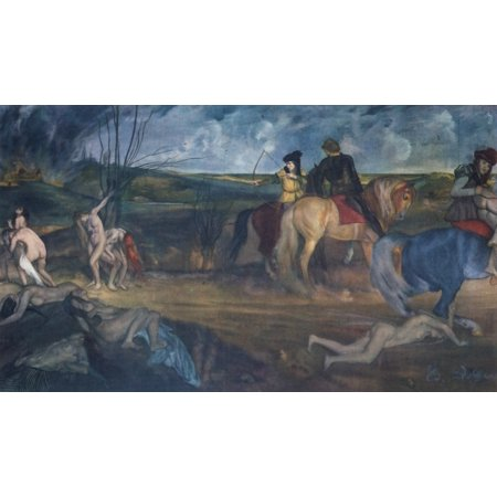 Scene of War in the Middle Ages 1865 Canvas Art - Edgar Degas (18 x