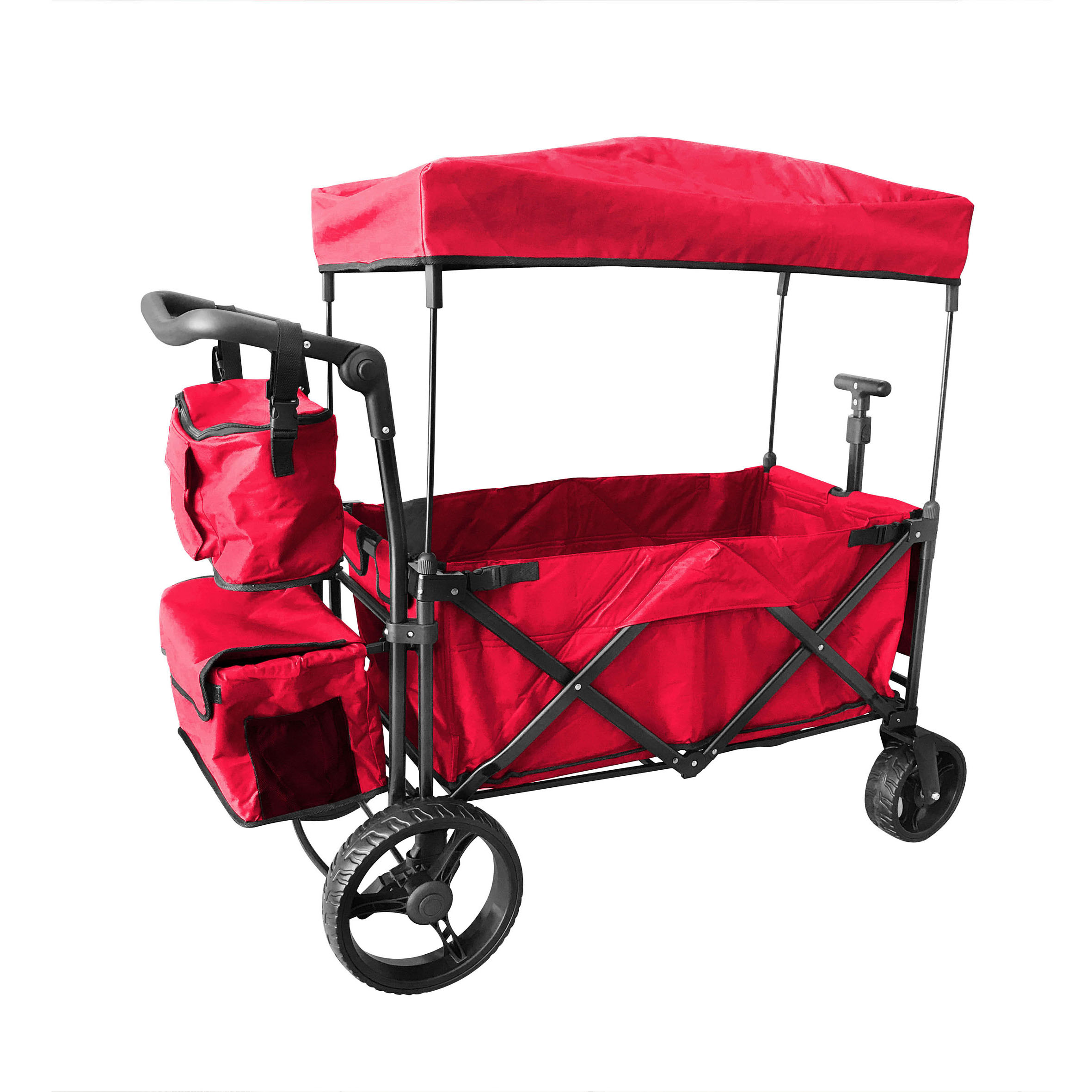 RED OUTDOOR FOLDING PUSH WAGON CANOPY GARDEN UTILITY TRAVEL CART TIRES BRAKE by