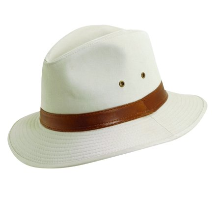 DPC Outdoor Design Size Medium Mens Washed Twill Rain Repellent UPF 50+ Safari Hat, Putty