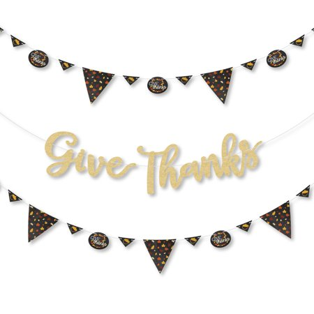Classroom Thanksgiving Decorations (Give Thanks - Thanksgiving Party Letter Banner Decoration - 36 Banner Cutouts and No-Mess Real Gold Glitter Give)