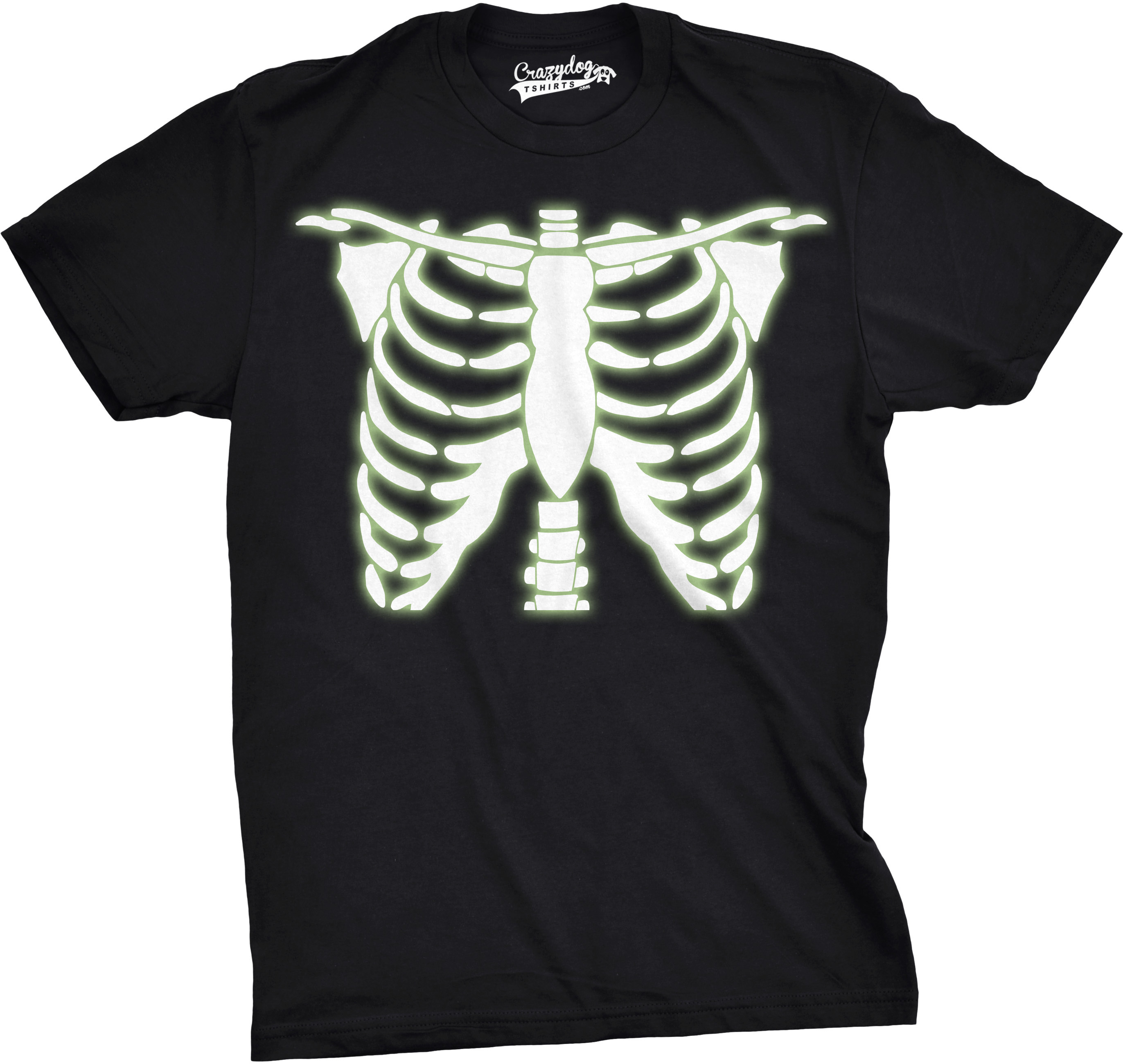 Crazy Dog TShirts - Youth Glowing Skeleton Rib Cage Cool Halloween T shirt