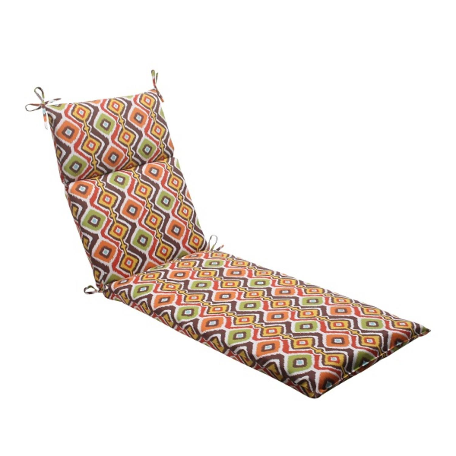 """72.5"""" South Western Bohemian Outdoor Patio Chaise Lounge Cushion with Ties"""