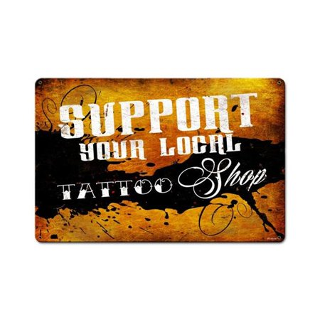 Past Time Signs PTS539 18 x 12 in. Support Your Local Tattoo Shop Metal Signs](Peace Sign Tattoos)