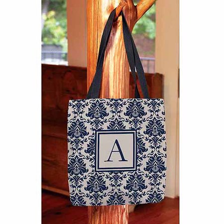 Damask Monogram Tote Bag