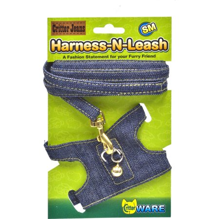 - Ware Mfg. Inc. Bird/sm An-Critter Jeans Small Animal Harness-n-leash- Blue Small