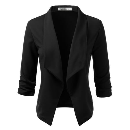 Doublju Women's Ruched 3/4 Sleeve Open Front Blazer Jacket with Plus Size Puff Sleeve Blazer