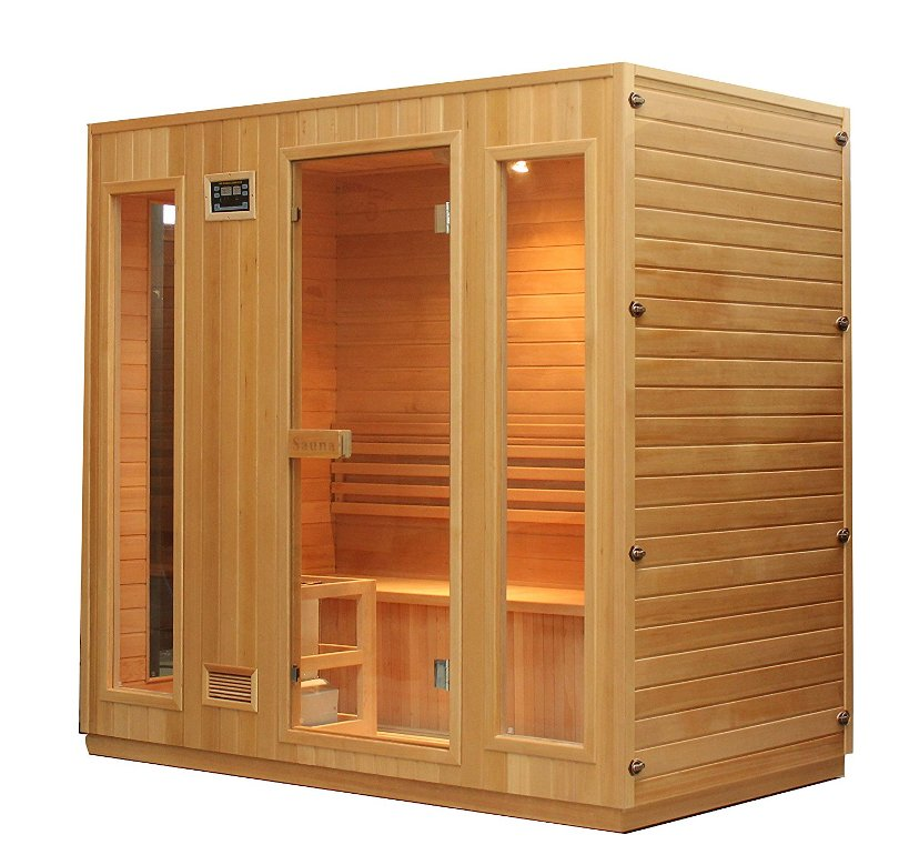 ALEKO® STI6ESPOO 6 Person Canadian Hemlock Wood Indoor Wet Dry Sauna with 6