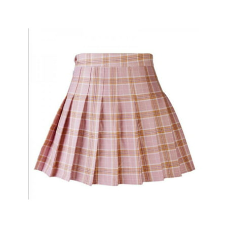 Ropalia New Women's Skirts College High Waist Slim Plaid Skirt Pleated Skirt Fashion Dress Mini Skirt With Safety Pants (Pleats V-neck Skirt)