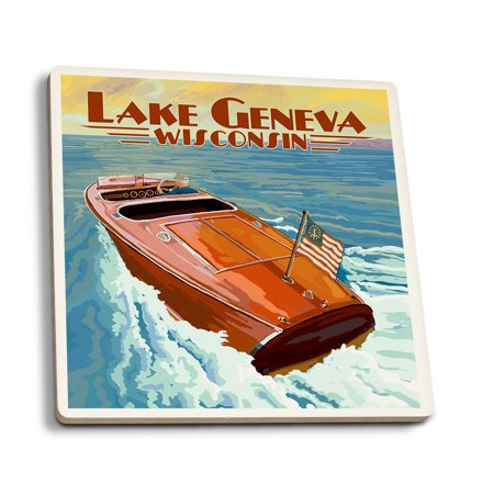 - Lake Geneva, Wisconsin - Chris Craft Wooden Boat - Lantern Press Artwork (Set of 4 Ceramic Coasters - Cork-backed, Absorbent)