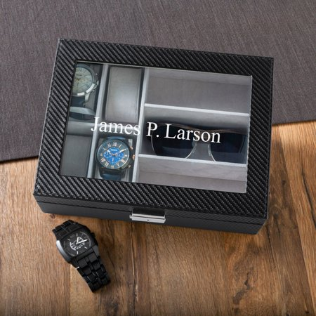 Personalized Men's Watch and Sunglasses Case