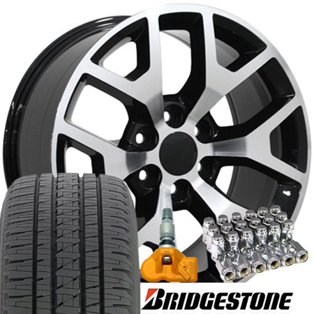 22x9 Wheels, Tires, TPMS and Lugs Fit GMC Chevy Trucks and SUVs - GMC Sierra 1500 Style Black w/Mach'd Face Rims - (Best Tires For 20x10 Rims)