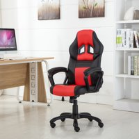 Belleze Deluxe Racing Style Computer Chair Faux Leather Swivel High Back, Red