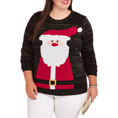 Holiday Time Women's Plus Jolly Santa Pullover Christmas Sweater