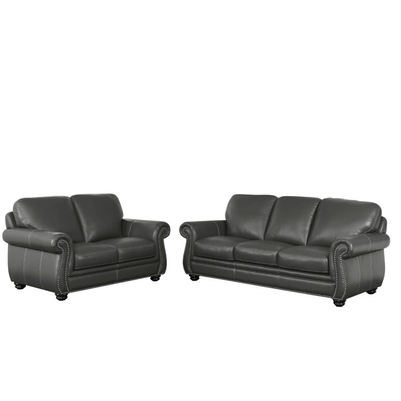 abbyson austin 2 piece leather sofa set in gray walmart com