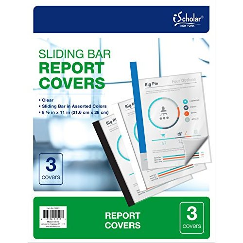iScholar Sliding Bar Report Covers, 8-1/2 x 11, 3 Pack, Clear (30603)