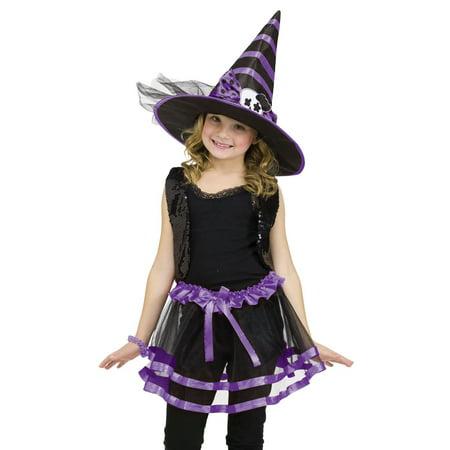 Purple Tutu Hat Witch Princess Girls Fairytale Dress Halloween Costume O/S - Fairytale Witch
