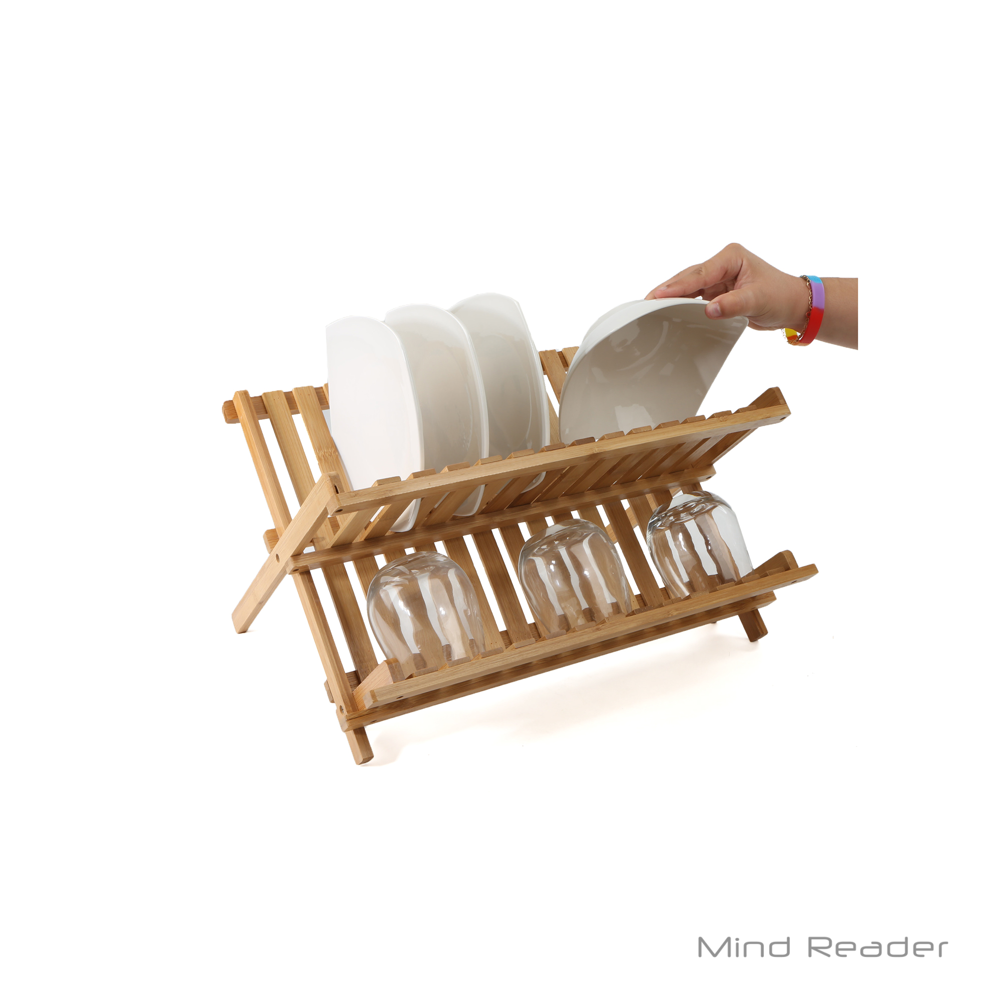 Mind Reader Wooden Dish Rack Plate Rack Collapsible Dish Drying Rack Bamboo Dish Drainer  sc 1 st  Walmart & Mind Reader Wooden Dish Rack Plate Rack Collapsible Dish Drying Rack ...
