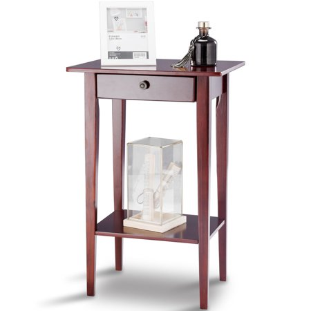 Costway End Table Tall Wood Side Table Accent Style Telephone Stand Table Drawer Shelf