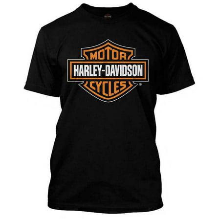 Harley Davidson Mens Orange Bar   Shield Black T Shirt 30290591  Harley Davidson