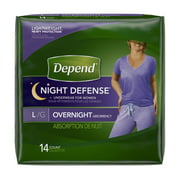 Depend Night Defense Underwear for Women, Large - Case of 28