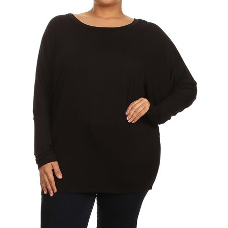 NEW MOA Women's Plus Size Solid Long Sleeves Relaxed Fit Jersey Knit Dolman Top Tee/Made in USA