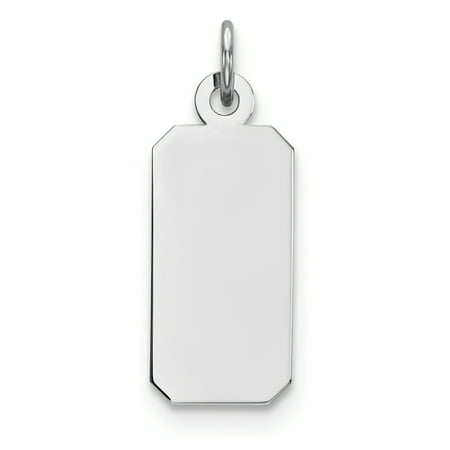 925 Sterling Silver Rhod Plate Eng. Rect. Polish Front Back Disc Pendant Charm Necklace Engravable Square Rectangle Rectangular Gifts For Women For Her