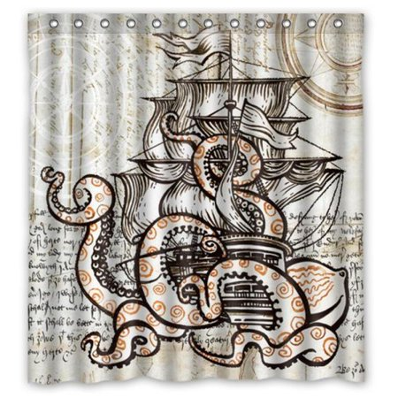 Custom Waterproof Fabric Bathroom Shower Curtain Attack Octopus Ship