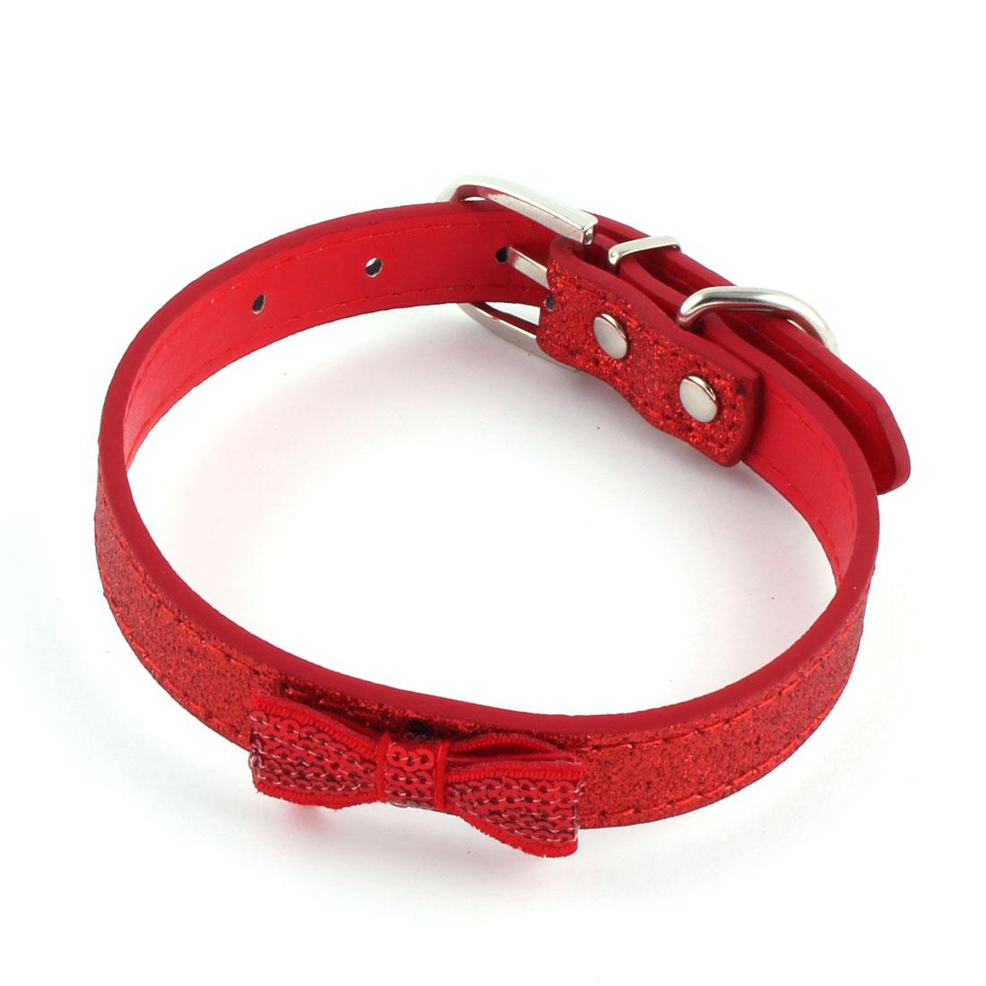 Pet Dog Cat Faux Leather Bowknot Pendant Sequin Decor Glowing Belt Strap Collar