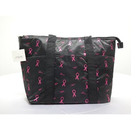 Zodaca Breast Cancer Awareness Large Insulated Tote Bag Travel Zipper Carry Bag - Black