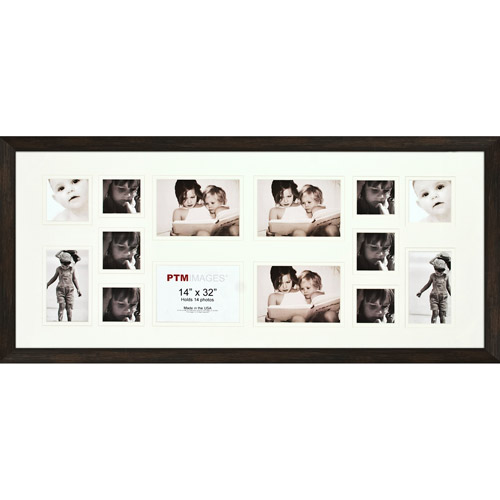 Brown 14-Opening Collage Frame, Set of 2