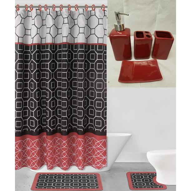 19pc Diamond Red Black Bathroom Set, Diamond Bathroom Set