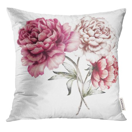 RYLABLUE Pink Peonies Watercolor Flowers Floral in Pastel Colors Bouquet of White Leaf Romantic Composition Throw Pillowcase Cushion Case Cover - image 1 de 1