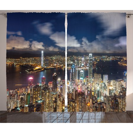 Apartment Decor Curtains 2 Panels Set  Night View Hong Kong Victoria Harbor Business Financial District Cityscape  Window Drapes For Living Room Bedroom  108W X 90L Inches  Navy White  By Ambesonne