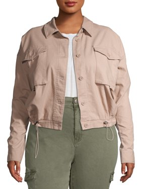 No Boundaries Junior?s Plus Size Cinched Utility Jacket