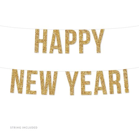 Gold Happy New Year! Real Glitter Paper Pennant Hanging Banner Includes String No Assembly -