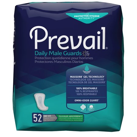 Prevail Male Guards, Maximum Absorbency, Incontinence Pads, One Size, 52 Count Waterproof Multi Use Pad