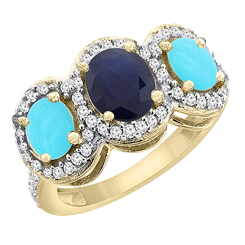 14K Yellow Gold Natural Blue Sapphire & Turquoise 3-Stone Ring Oval Diamond Accent, size 5 by Gabriella Gold