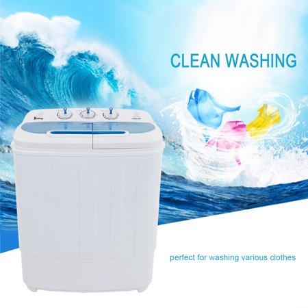 WALFRONT 13Lbs Semi-automatic Twin Tube Washing Machine US Standard White & Blue, Semi-automatic Washing Machine, Twin Tube Washing Machine