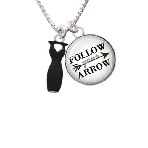 """Little Black Dress Follow Your Arrow Glass Dome Necklace, 18""""+2"""""""