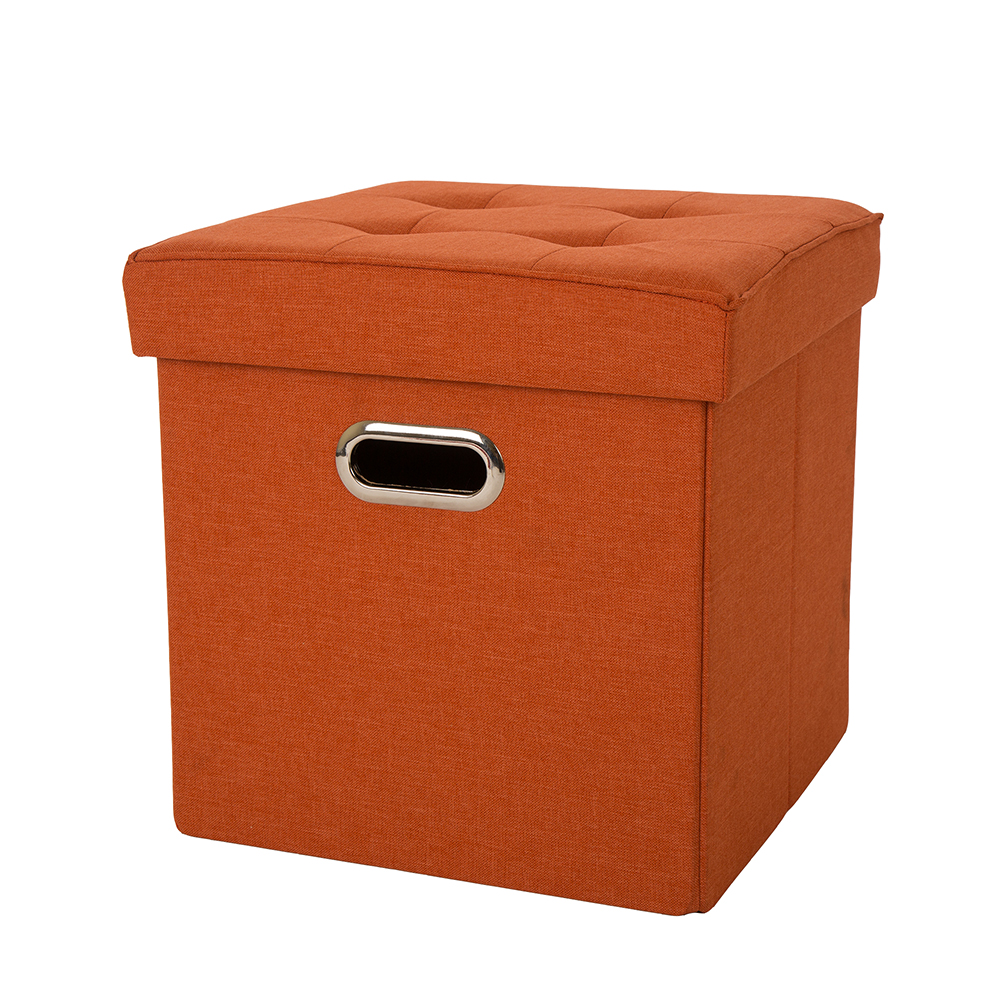 """Glitzhome 15""""H Functional Cube Office Living Room Foldable Linen Storage Ottoman with Padded Seat, Orange"""