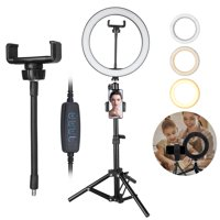 "TSV Selfie Ring Light kit with Adjustable Tripod Stand, Universial Cell Phone Holde, Rotatable lights Holde, Bracket connector for YouTube Video and Live Stream /Makeup/Photography, 10"" 12000K"