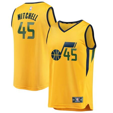 new product bd613 5b8aa Donovan Mitchell Utah Jazz Fanatics Branded Fast Break Replica Jersey Gold  - Statement Edition