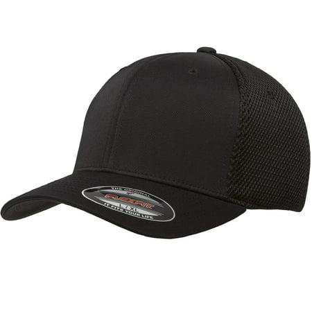 THE HAT PROS FITTED 6533 FLEXFIT HAT TACTEL & MESH CAP ( Black) L/XXL