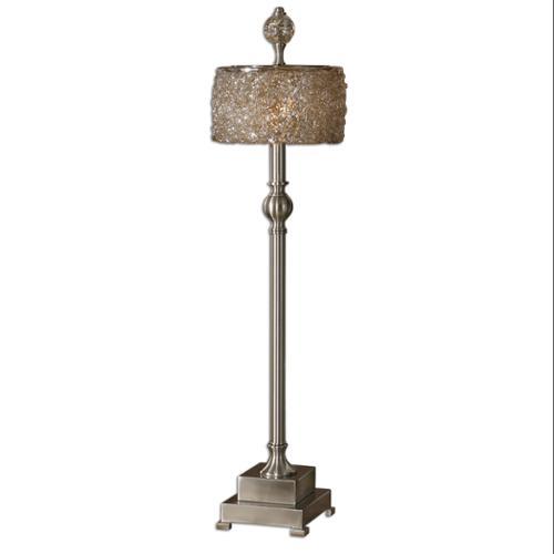 """33"""" Satin Nickel Metal & Sugar Spun Glass Round Drum Shade Buffet Table Lamp"""