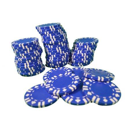 Poker Chips Lot of 200 Blue W/ Card Suit Las Vegas Casino 11.5g Heavy Duty - Poker Supplies Las Vegas