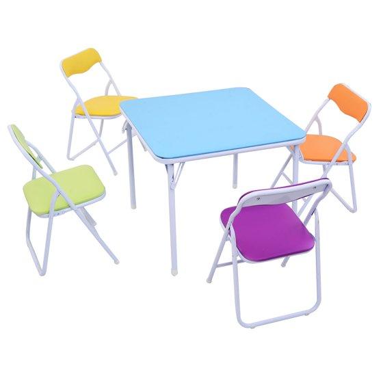 Costway Kids 5 Piece Folding Table Chair Set Children Multicolor Play Room Furnitur