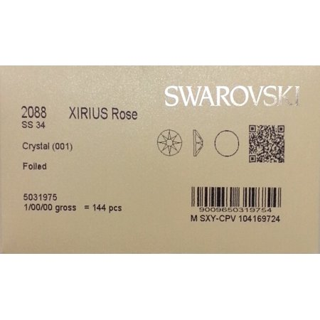 (34ss Crystal CLEAR 144 SWAROVSKI #2088 XIRIUS Rose Flatback Rhinestones Wholesale FULL Pack)