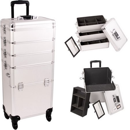 2f4d9b0b4d Sunrise I3361DTSL Silver Dot Trolley Makeup Case - I3361
